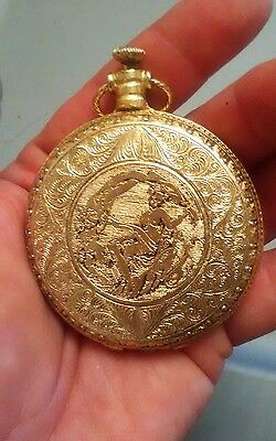 Vintage Max Factor  Pocket Watch Compact w/  nude naked Aphrodite & Cupid Image
