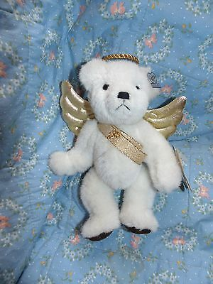 "Annette Funicello 8"" White and Gold Angel Bear Very Gently Used REDUCED!"