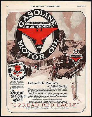 Vintage magazine ad RED HAT MOTOR OIL Independent Red Eagle sign pic 1926 Rare