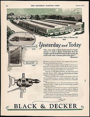 Vintage magazine ad BLACK and DECKER Towson Maryland plant pictured 1927 n-mint