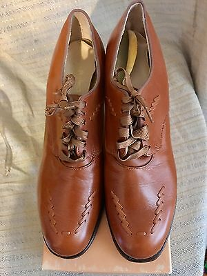 RARE Vintage 1940s Pair Unworn Brown Leather Oxford Lace Up Shoe Cuban Heal Sz 9