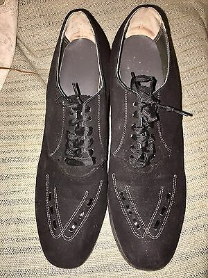 Vintage 1940s Black Suede  Leather Lace Up Swing Oxford W Heels Shoes Sz.8 1/2