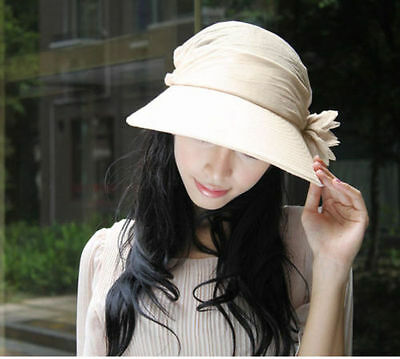 Fashion Women's Wide Brim Flower Hat Summer Beach Sun Visor Cap Hats New Beige