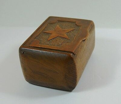 Vintage Hand Made Treen Wooden Trinket Box Rustic