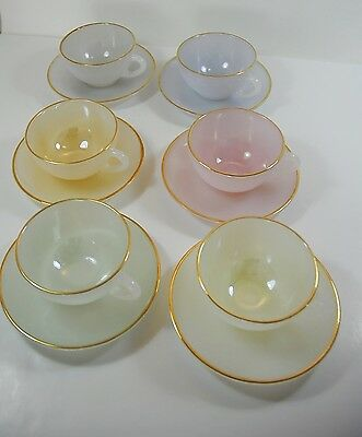 Vintage Arcopal Harlequin Opalescent Glass Cups and Saucers x 6 French Pyrex