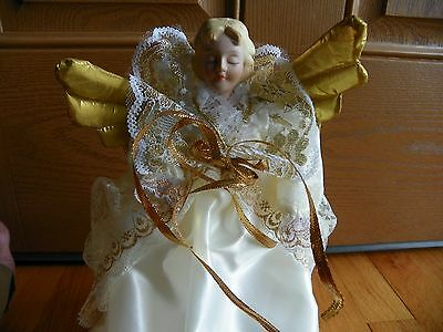 "Angel Tree Topper 12"" Christmas gold wings & ribbon   new unused original box"