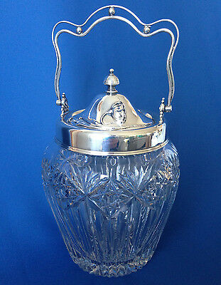 Antique Victorian cut glass biscuit jar with sterling silver lid & handle