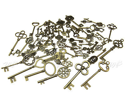 70pcs Bulk Antique Vintage Bronze Old Fashion Skeleton Keys  Pendants Decor Gift