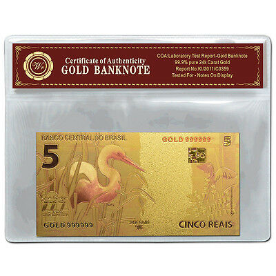 Brazil 5 Reais Gold  Banknote  24Kt Gold Coloured Unc  Bank Note Plus  Coa