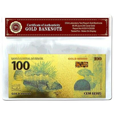 Brazil 100 Reais  Gold  Banknote  24Kt Gold Coloured Unc  Bank Note Plus  Coa