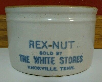 Knoxville TN Advertising Butter Crock Rex-Nut Sold by The White Stores 1920s