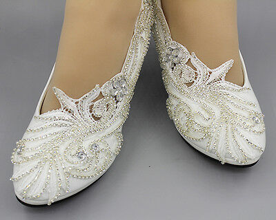 charmin 8CM heel white ivory lace crystal  Wedding shoes pumps bride size 4.5-10