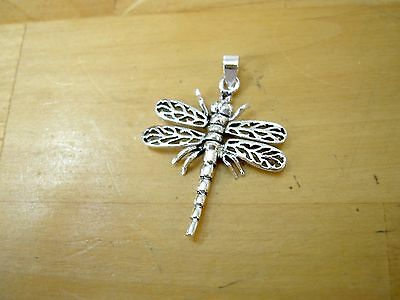 """New Sterling Silver 925 Large Wiggly Wings Dragonfly Pendant 1.5"""" - Fly With Me!"""