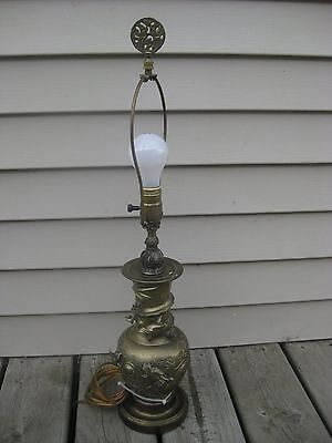 ANTIQUE BRONZE/BRASS VASE LAMP WITH A DRAGONS and FISH