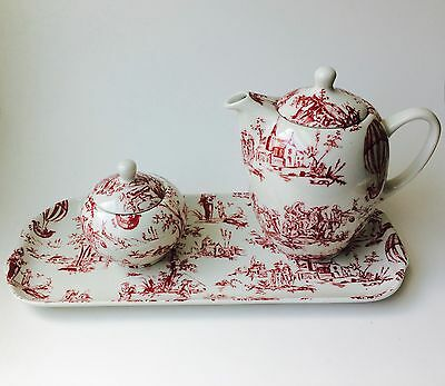 Apilco Porcelain Toile Heloise Yves Deshoulieres Tea Set/Apilco Coffee Set