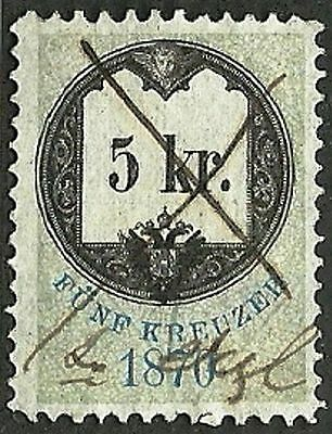 AUSTRIA 1870 VF Used The general revenue fourth issue stamp 5kr. St.# 4