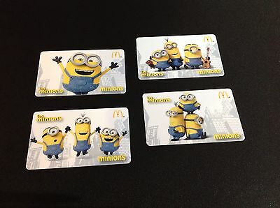 Canada Mcdonald's Minions Gift  Card -- Complete  Set Of 4 Pcs - Rare --- New