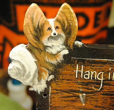 Original Painting~Papillon~Dog~Carving~Hook~Key~Leash Holder~Whimsical~Hanger