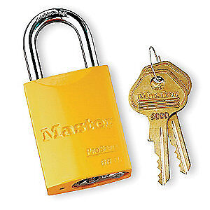 "MASTER LOCK Lockout Padlock,KD,Yellow,1-7/8""H, 6835YLW, High Visibility Yellow"