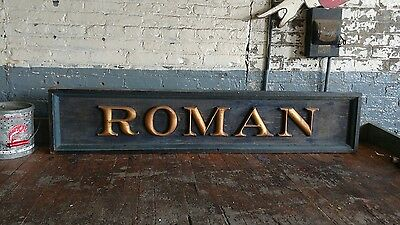 Roman Gold Leaf Wooden Trade Sign Gas Pump General Store Petro Decor Advertising