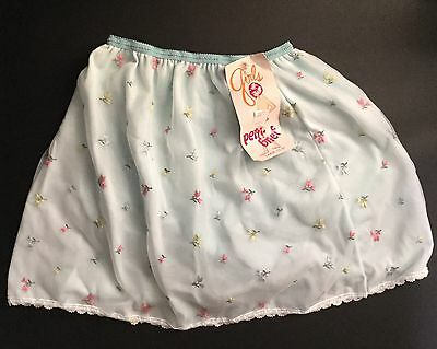 New Vintage Girls Blue Petti-Pants Flowers Lace Nylon Large 14-16 Panty Brief