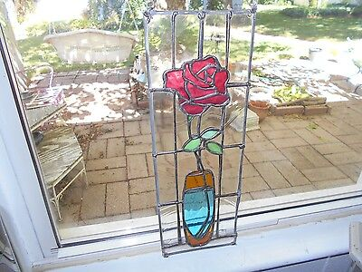 Stained Glass Window Panel Suncatcher Fusha Pink Rose