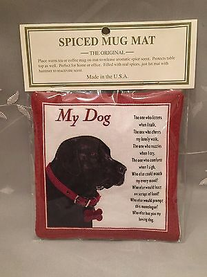 NEW Alice's Cottage MY DOG Black Lab image & Poem SPICED MUG MAT / COASTER