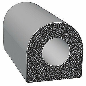 TRIM LOK INC EPDM Rubber Seal,D-Section,0.5 In W,100 Ft, X202BT-100