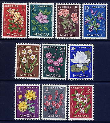 CHINA MACAO Sc#372-81 1953 Flowers MNH (5a crease)