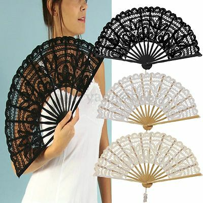 Vintage 4 Colors Handmade Cotton Parasol Lace Hand Fan Bridal Wedding Party QW