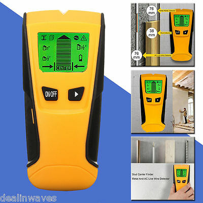 LCD 3in1 Mutil Stud Wood Wall Center Finder Scanner Metal AC Live Wire Detector