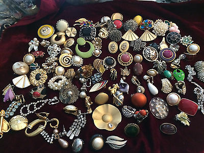 108 Vintage Single Earrings All Clip on Some are Signed