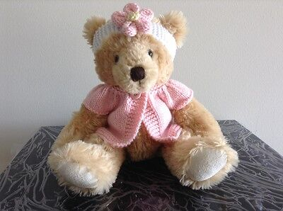 Hand knitted teddy bear clothes, jacket and headband for a 30cm bear