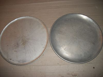 """2 Vintage 12 1/2"""" Inch Aluminum Pizza Pans 1 Is A Rema Ware Perforated"""