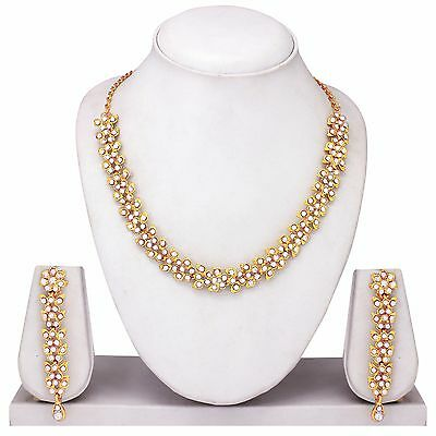 Indian Bollywood Fashion Bridal Gold Tone Wedding Necklace Earrings Jewelry Set