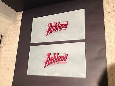 Ashland Gas Pump Ad Glass Set (2) Sign collectible advertising Vintage