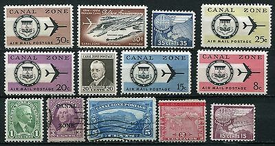 Canal Zone Panama collection of 13 mh/u stamps.