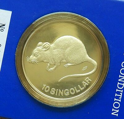 1984 SINGAPORE OUNCE 1 oz SILVER PROOF MOUSE RAT LUNAR YEAR in card 10 SINGOLLAR