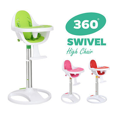 360 Adjustable Swivel Baby High Chair 5 Point Safety Harness Eva Foam Seat