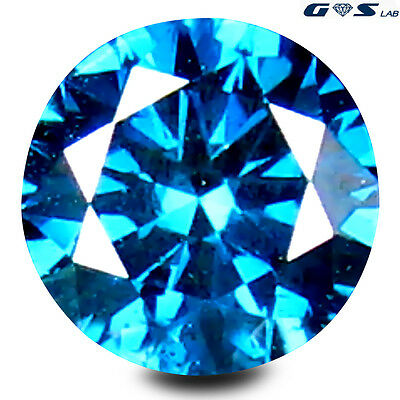 0.25 ct GSL Certified Shimmering Blue Color 4 mm Round Cut Genuine Blue Diamond