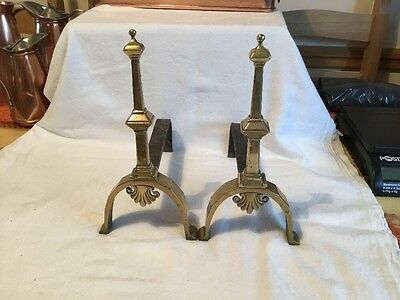 Great Pair Of Antique Victorian Brass Fire Dogs