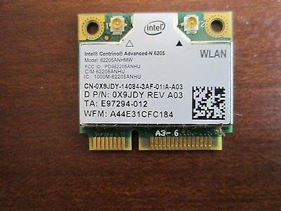 INTEL CENTRINO ADVANCED-N 6205 WIRELESS PCI EXPRESS 62205ANHMW 2.4/5Ghz 0X9JDY