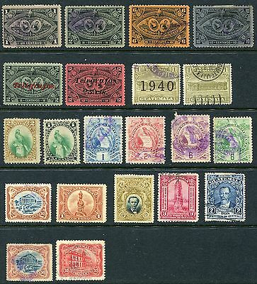 Guatemala Republic Of Central America 1897 start collection of 21 mh/u stamps.