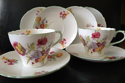 "Vintage Shelley ""New Cambridge"" Fine Bone China Cup & Saucers"