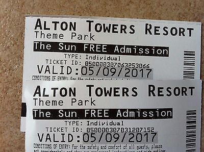 2 x Alton Towers Tickets For  5.9.2017  - TUESDAY 5TH SEPTEMBER FREE UK PP