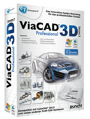 ViaCAD 2D / 3D Version 9 Professional WIN / MAC  CD/DVD v PUNCH! + PDF Experte 8