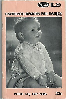 Vintage Patons Knitting Book R.29 - Favourite Designs for Babies - 1960s