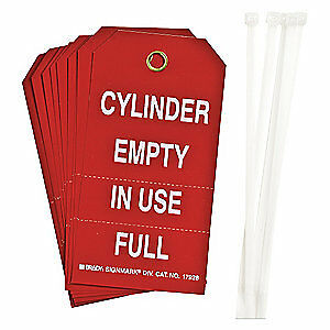 BRADY Polyester Cyl Stat Tag,5-3/4 x 3 In,Wht/R,Met,PK10, 17928