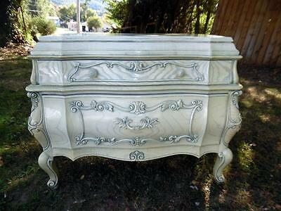 Vintage White Over Blue French Provincial Bombe Bombay Chest Commode Server