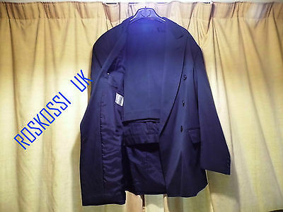 "Excellent Men's Suit Double Breasted  40"" In Blue Free  Travel Zip Bag.-  Uk"